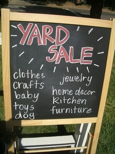 simple tasteful and easy to read a huge garage sale